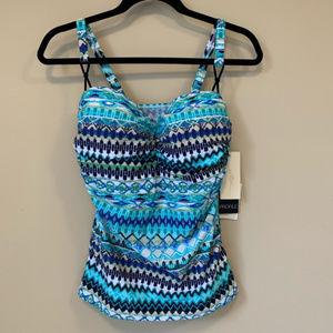 Profile By Gottex Women Blue Tankini Swim Top NWT